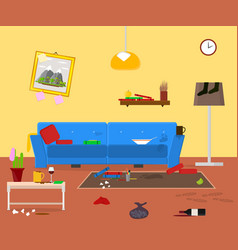 cartoon dirty organized apartment for cleaning vector image