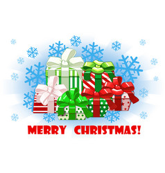 cartoon merry christmas different gifts on snow vector image