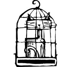 Cat in Cage 2 vector