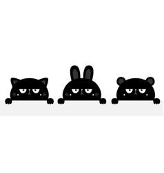 cat kitten kitty rabbit bunny bear set black vector image
