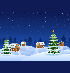 Christmas night scene with a snowy wooden house an vector