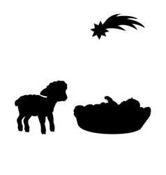 christmas silhouette baby and lamb christmas vector image