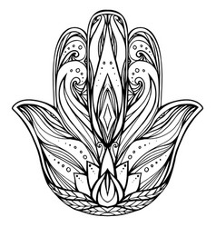 contour hamsa with boho pattern hand of buddha ve vector image
