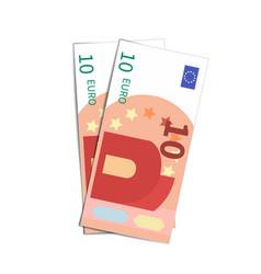 Couple simple ten euro banknotes on white vector