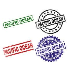 Damaged textured pacific ocean stamp seals vector