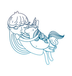 Degraded outline cute girl hugging nice unicorn vector