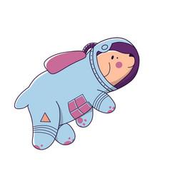 Dog space astonaut in doodle style flat cartoon vector
