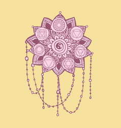 Doodle style pink and yellow line art lotus vector