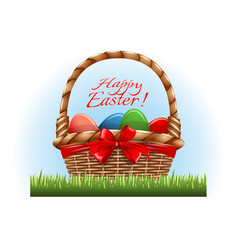 easter eggs in the wooden basket and red bow vector image