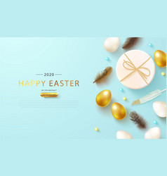Easter eggsgift box and feathers on blue vector