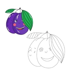 Educational game connect dots to draw plum vector