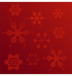 embossed paper snowflake background on red vector image