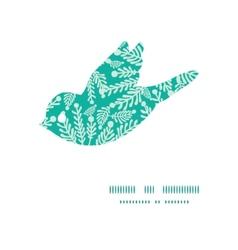 Emerald green plants bird silhouette pattern frame vector