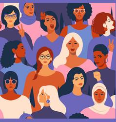 Female diverse faces different ethnicity vector