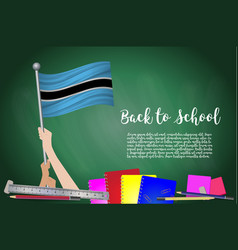 Flag of botswana on black chalkboard background vector