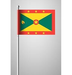 Flag of Grenada National Flag on Flagpole vector
