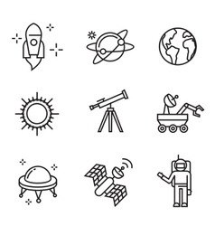 flat astronomy icons vector image