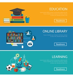 flat design concept for education online library vector image