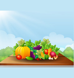 Fresh vegetables on the table vector