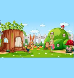 garden scene with rabbit family cartoon character vector image