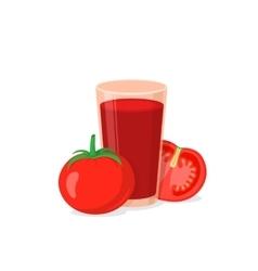 Glass of tomato juice vector
