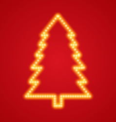 glowing christmas tree on red background vector image