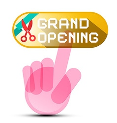 Grand Opening Button with Hand and Scissors with vector