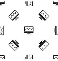 graph in computer screen pattern seamless black vector image