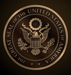 Great seal of the us gold vector
