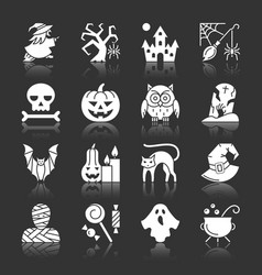 halloween white silhouette with reflection icons vector image
