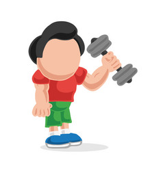 Hand-drawn cartoon of man standing lifting vector