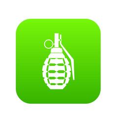 hand grenade bomb explosion icon digital green vector image