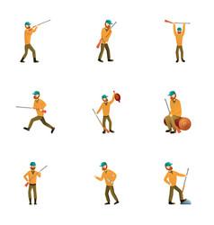 hunter man gun icon set cartoon style vector image