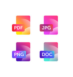 icons for expanding formats file icons flat icons vector image