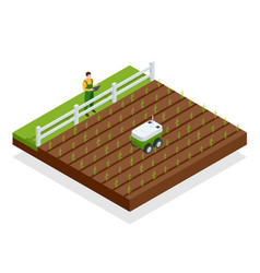 Isometric automation smart farming on the field vector