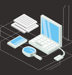 Isometric computer with smartphone and business vector
