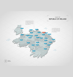 Isometric republic of ireland map with city names vector