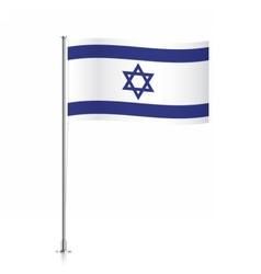 Israeli flag waving on a metallic pole vector