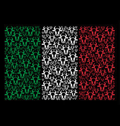 italian flag mosaic of cow head icons vector image