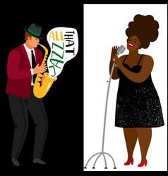jazz musician and afroamerican singer vector image