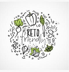 Keto friendly food sketch - two vector