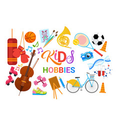 Kids hobbies art classes logo workshop creative vector