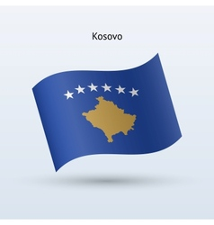 Kosovo flag waving form vector image