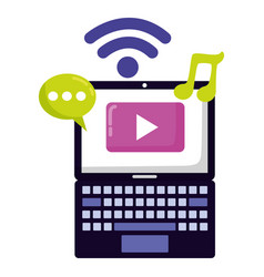 laptop social media vector image