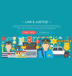 Law and justice design concept with policeman and vector