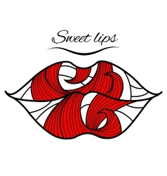 Lips with a red petal vector