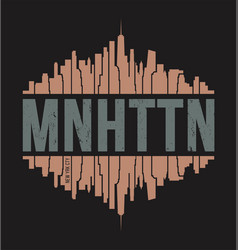Manhattan new york tee print vector