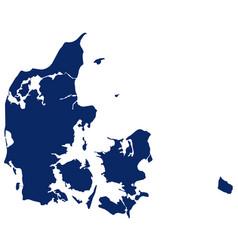 map denmark in blue colour vector image
