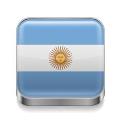 Metal icon of Argentina vector