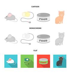 mouse pet leash pet food kitten cat set vector image